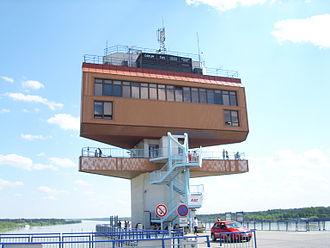 Gabčíkovo–Nagymaros Dams - Control tower of the Gabčíkovo Dam