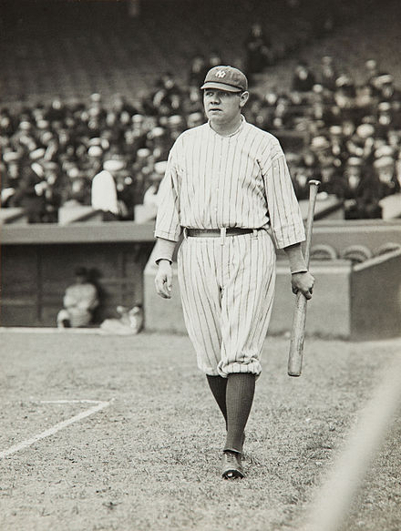 Ruth in his first year with the New York Yankees, 1920 Babe Ruth by Paul Thompson, 1920.jpg