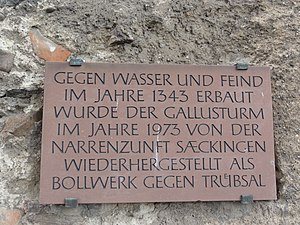 Bad Säckingen — Gallusturm, Schild Narrenzunft (2012).JPG