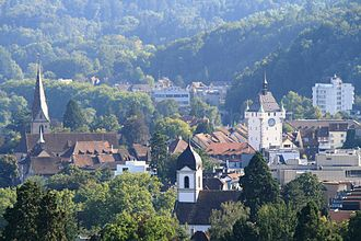 Baden, Switzerland - Baden's old city nestled in the hills