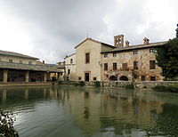 view of the bath the ancient village of bagno vignoni