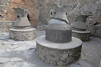 Horse mill - Horse or donkey-powered stone mills at Pompeii.