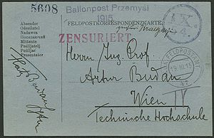 Siege of Przemyśl - Feldpost card flown by balloon from Przemyśl to Vienna in 1915