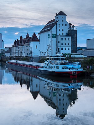 Grain silo and ship in the Bavarian harbour in Bamberg