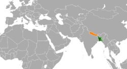 Map indicating locations of Bangladesh and Nepal
