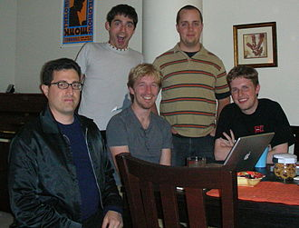 BarCamp - Five of the six originators of BarCamp: Tantek Çelik, Chris Messina, Ryan King, Andy Smith (termie), and Matt Mullenweg.