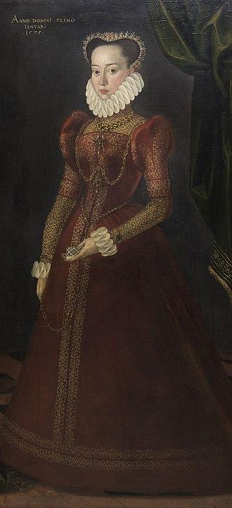 Countess Palatine Barbara of Zweibrücken-Neuburg - Countess Palatine Barbara of Zweibrücken-Neuburg, oil painting, 1575