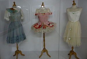 Barbara Karinska - Costumes by Barbara Karinska for the Ballet Russe de Monte Carlo: from left – Coppelia (act 2), Coppelia (act 1), and Giselle (act 2). Displayed at Beit Ariela, Tel Aviv-Yaffo.