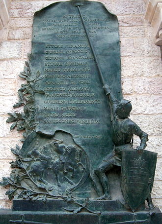 Challenge of Barletta - Detail of the monument to the challenge in the City of Barletta
