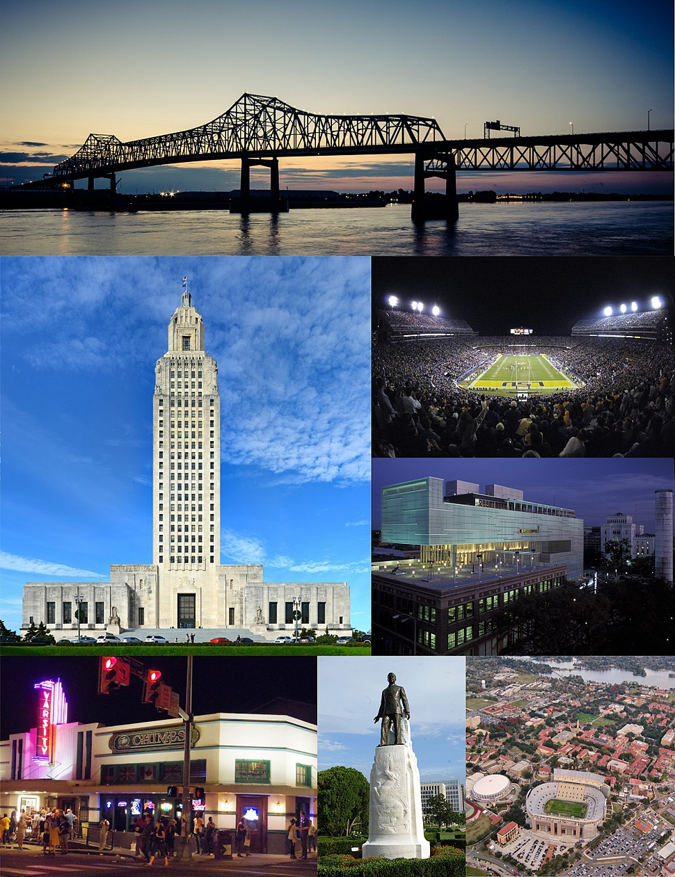 From top clockwise: the Horace Wilkinson Bridge spanning across the Mississippi River, Tiger Stadium during an LSU football game, the Shaw Center for the Arts on Lafayette Street, an aerial view of Louisiana State University, the Huey P. Long Memorial in the State Capitol Gardens, the Varsity Theatre near LSU, and the Louisiana State Capitol in downtown Baton Rouge.