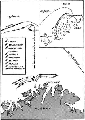 Battle of the North Cape - Contemporary map of the battle.