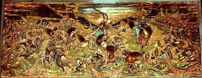 Mural of Yue Fei fighting in a battle between the Song and Jin armies