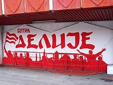 Graffiti of the Delije at Rajko Mitić Stadium. Red Star s ... 056d34991