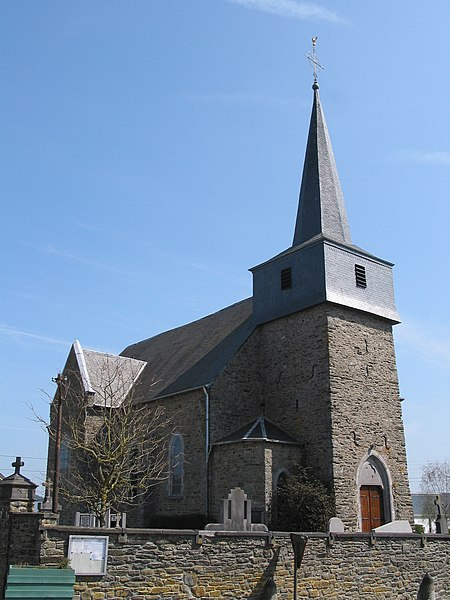 Bertogne   (Belgium),  the St. Lambert church (tower ca. 1670)