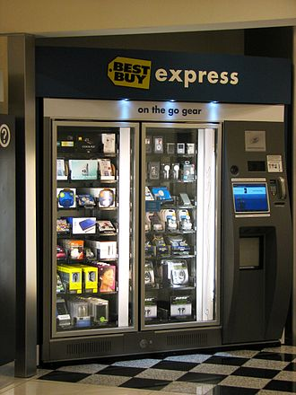 Automated retail - A Best Buy Express vending machine at an airport terminal, stocked with electronics by Zoom Systems.