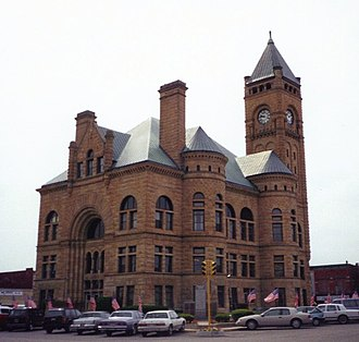 Hartford City, Indiana - The Blackford County courthouse is at the center of Hartford City's town square.