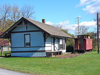 Newport and Shermans Valley Railroad - Restored depot in Blain, Pennsylvania