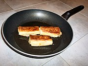 Blintzes in frying pan