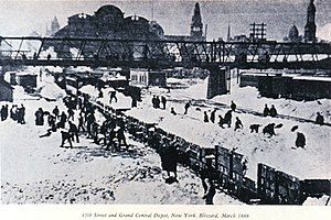 Great Blizzard of 1888 - Image: Blizzard 1888 Grand Central NY