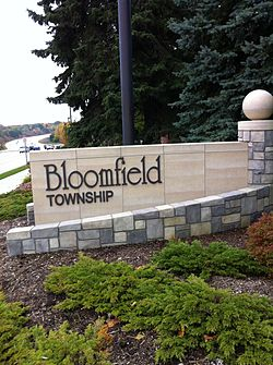 The Bloomfield Township Welcome Sign