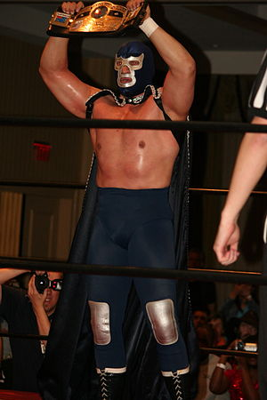 Blue Demon Jr. - With the NWA World Heavyweight Championship belt