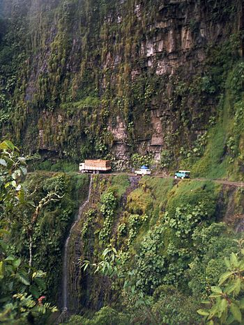 Yungas Road at San Pedro waterfall