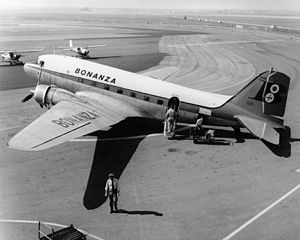 Bonanza Airlines, Orange County Airport, circa 1958.jpg