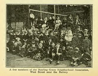 Downtown Community House - Picture of Members of the Bowling Green Neighborhood Association by Henry Collins Brown in Valentine's City of New York: A Guidebook, 1920