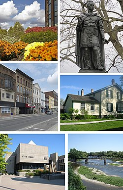Clockwise from top: Flowerbed outside RBC Building, Statue of Joseph Brant, Bell Homestead, Grand River, City Hall, Colborne Street in Downtown Brantford.