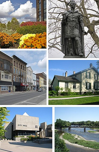Brantford - Clockwise from top: Flowerbed outside RBC Building, Statue of Joseph Brant, Bell Homestead, Grand River, City Hall, Colborne Street in Downtown Brantford.