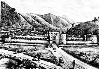 Brașov - Illustration of the walled city prior to the 1689 fire
