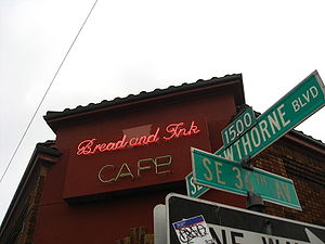 Sign for the Bread & Ink cafe on Southeast Haw...