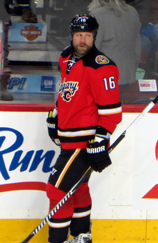 McGrattan skates along the boards during a pre-game warmup.