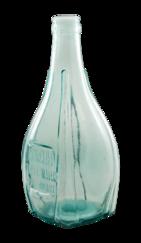 A pale blue glass bottle