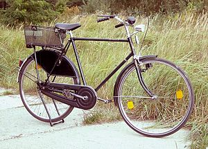 a Dutch utility bicycle with a bicycle luggage...