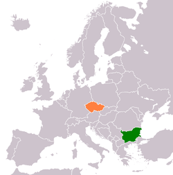 Map indicating locations of Bulgaria and Czech Republic