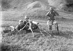 Heavy machine gun - MG 08 system (7.92 mm) and crew circa 1931.