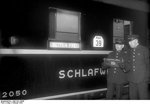 Mitropa - Mitropa sleeper with Betten frei (beds available) sign, 1932