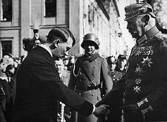 Abdication of Wilhelm II - Hitler humbly greeting Hindenburg on the Day of Potsdam, 21 March 1933