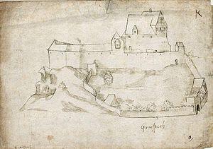 Burg Graisbach im 16. Jahrhundert, Zeichnung von Philipp Apian
