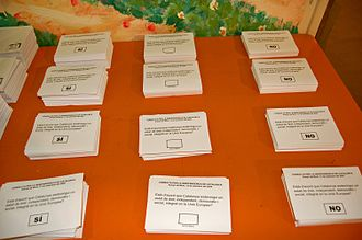 2009–2011 Catalan independence referendums - Voting ballots used in the Arenys de Munt query on Catalonia independence