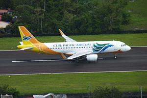 Legazpi Airport - A Cebu Pacific plane at Legazpi Airport