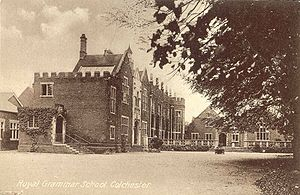 Colchester Royal Grammar School - These school buildings, pictured in 1920, remain largely unchanged