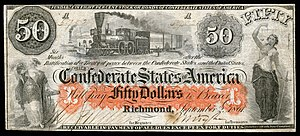 New York Central Railroad - The Hudson River Railroad vignette used on the Confederate States of America $50 note in 1862.