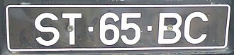 Vehicle registration plates of Cape Verde - The current standard format of Cape Verde registration plates. ST=Island of Santiago.