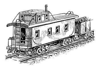 line art drawing of caboose.