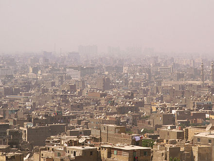 Smog in Cairo. Particulate air pollution, including smog, is a substantial cause of human exposure to PAHs. Cairo in smog.jpg