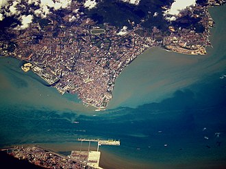 Penang - Aerial view of George Town. The city is physically separated from Butterworth (bottom) by the Penang Strait.