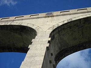 Lyme Regis branch line - Image: Cannington Viaduct close up