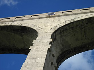 Lyme Regis branch line - Image: Cannington Viaduct close up